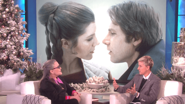 Carrie Fisher tells Ellen about her affair with Harrison Ford and how she kept it secret for 40 years.