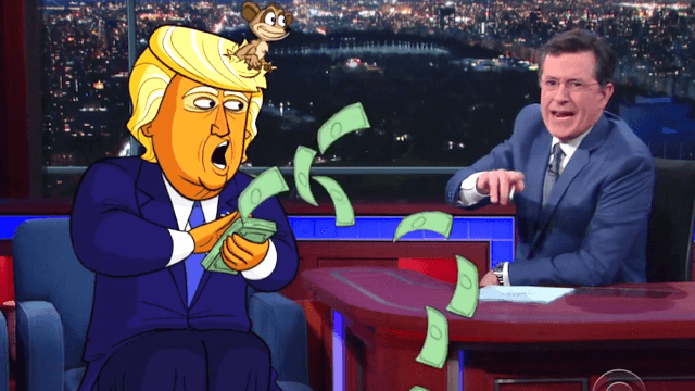 Cartoon Trump returned to 'Late Show' to declare himself Emperor of New York.