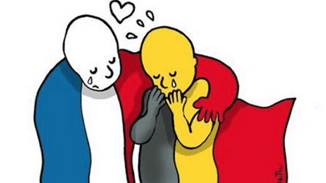 Cartoonists from around the world are creating moving tributes to Brussels.