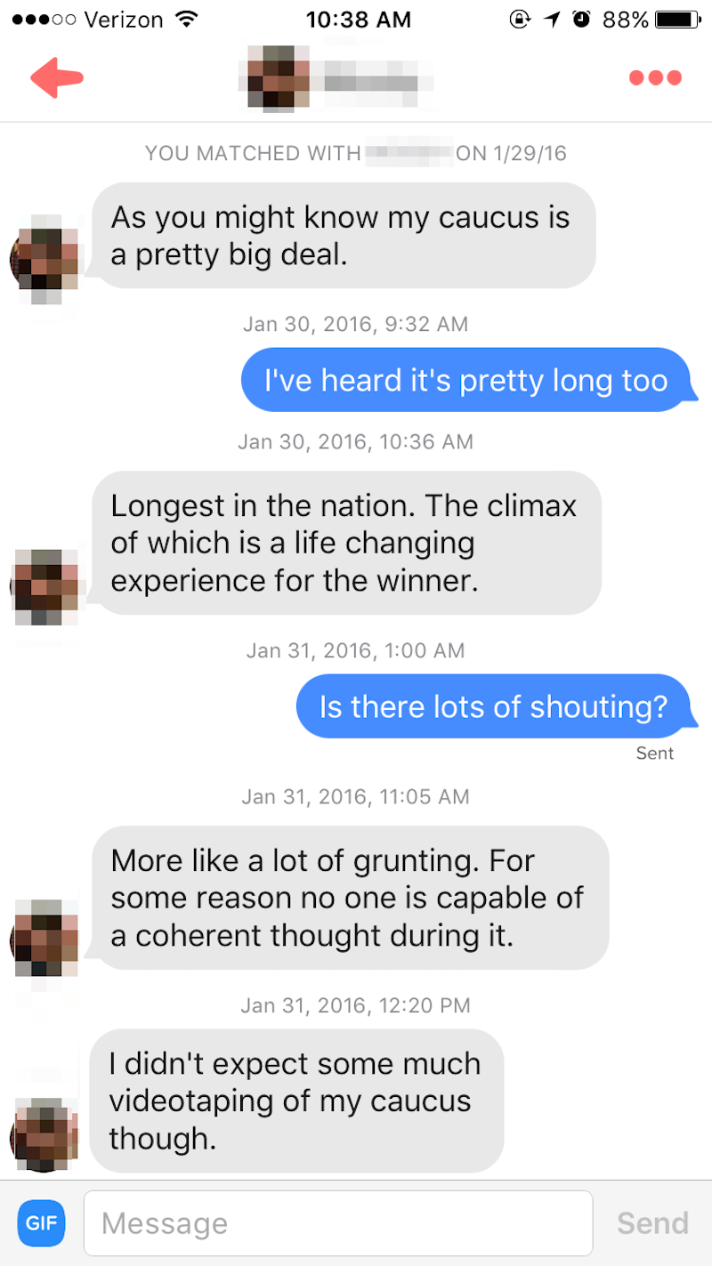 A woman went on Tinder in Iowa this week and asked men about their big, important caucuses.