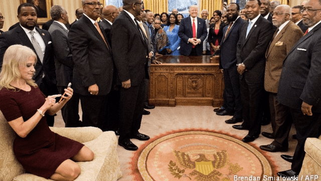 Politician's sexist joke about Kellyanne Conway's Oval Office photo will make you cringe.