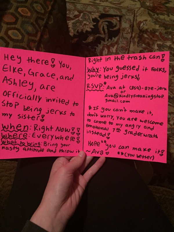 12-year-old sends the girls bullying her a hand-written invitation to recognize who's boss.