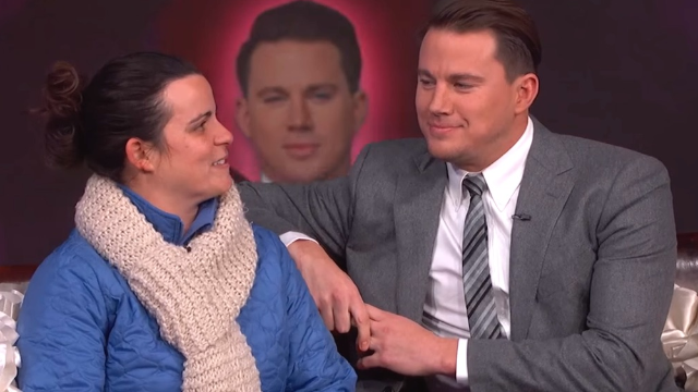 Channing Tatum whispered Candy Heart sayings in a lucky stranger's ear.
