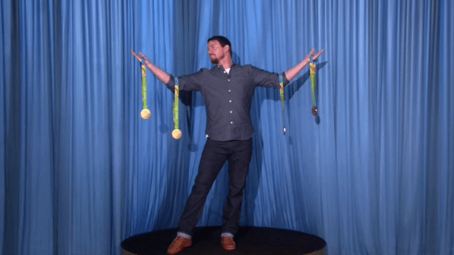 Channing Tatum achieves his dream of becoming Simone Biles' human trophy case.