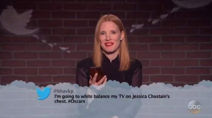 """I'm going to white balance my TV on Jessica Chastain's chest. #Oscars"