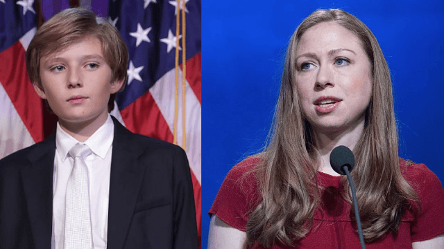 Chelsea Clinton takes to Twitter to defend Barron Trump.