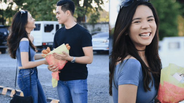 Girl doesn't like flowers, so her boyfriend surprises her with a much more savory bouquet.