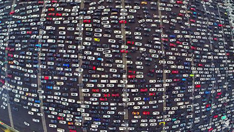 This insane traffic jam on a 50-lane highway in China is a great excuse to leave work early.
