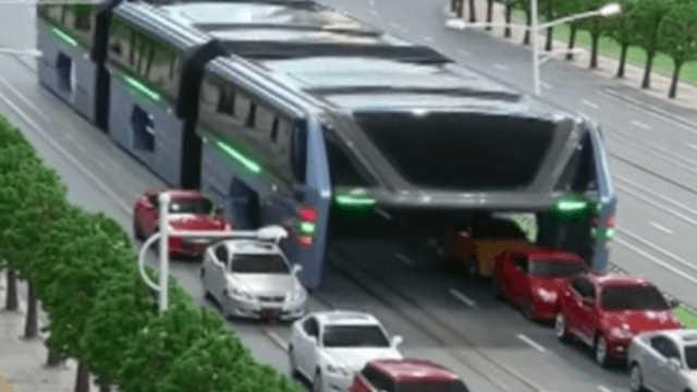 Of course China built an insane megabus that drives over cars.