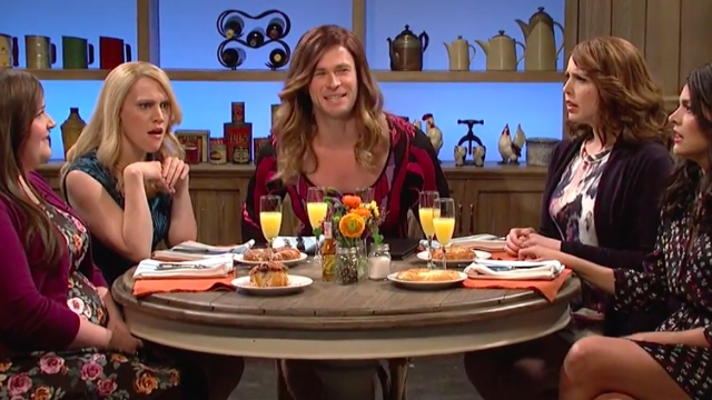 Brunch friends must figure out if one of them is secretly Chris Hemsworth in a dress.