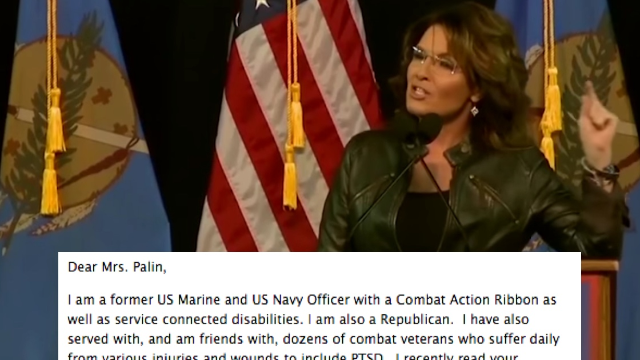 Marine vet writes open letter to Sarah Palin about blaming domestic violence on PTSD & Obama.