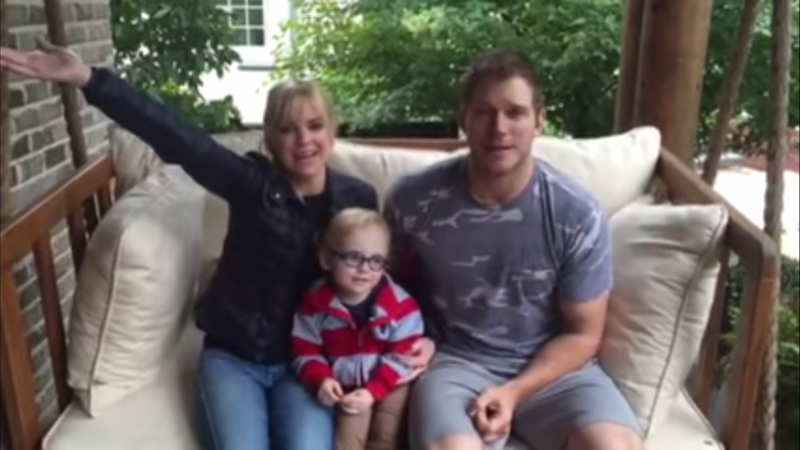 Chris Pratt and Anna Faris named a cute baby penguin with their cute baby human.