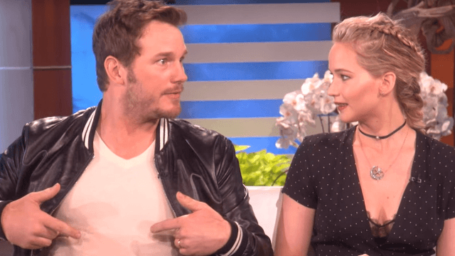Chris Pratt and Jennifer Lawrence get goofy, talk 'moob sweat' with Ellen.