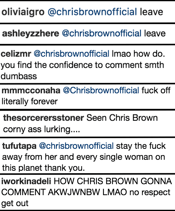 Chris Brown left a sketchy comment on Rihanna's Instagram and her fans are telling him to GTFO.
