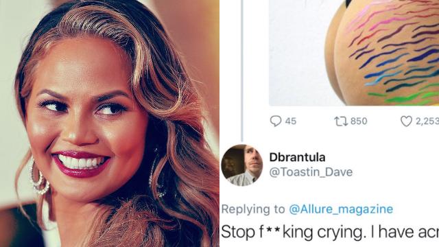 Chrissy Teigen perfectly shuts down body shamer who tells women to 'stop f**king crying.'