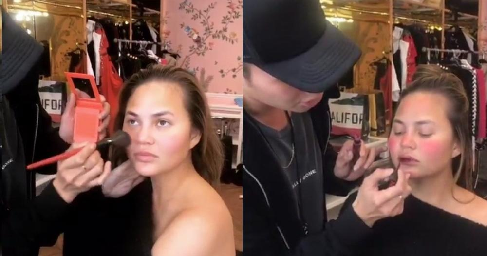 Chrissy Teigen couldn't stop laughing during this makeup 'tutorial.'