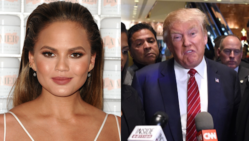 Chrissy Teigen shoots back at Donald Trump for calling her 'trashy' compared to Melania.