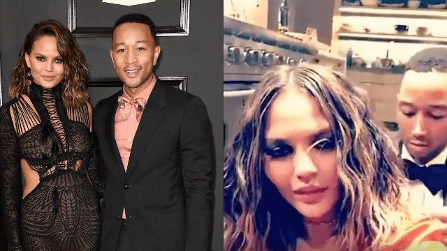 Watch John Legend help Chrissy Teigen take off her jewelry post-Grammys because alcohol.