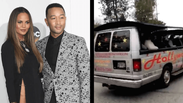 Chrissy Teigen put John Legend on blast in front of a bus full of tourists.
