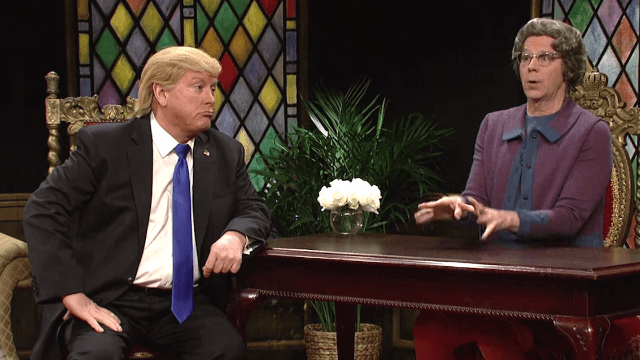 The Church Lady returned to 'SNL' to meet 'godless' Donald Trump. Isn't that special?
