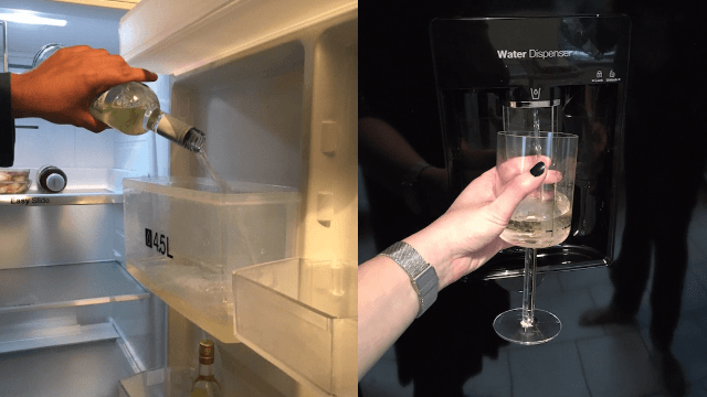 Genius figures out how to make her refrigerator dispense wine instead of water.