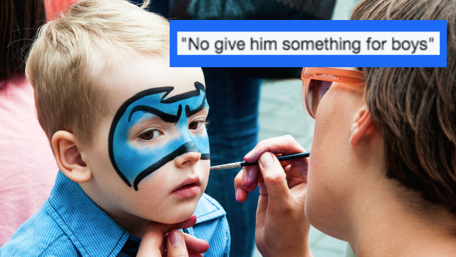 Face painter slams mom who wouldn't let her son get a butterfly on his face.