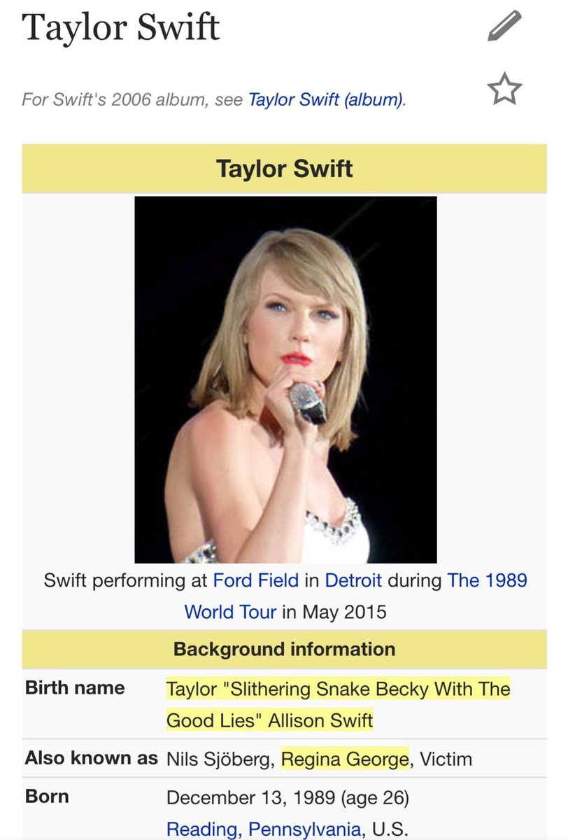 Kim Kardashian fans had a good time editing Taylor Swift's Wikipedia page.