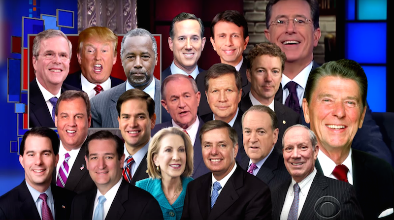 Stephen Colbert lays out which GOP candidates are ahead in the battle to be most like Reagan.