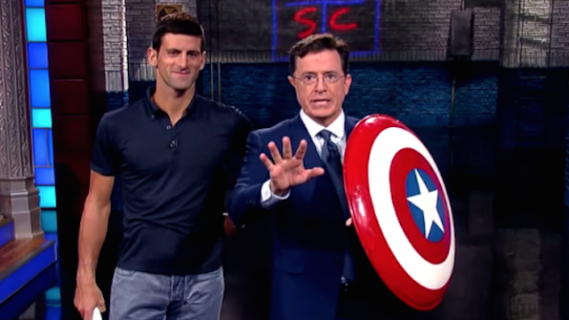 Colbert got served by US Open champ Novak Djokovic and even Captain America couldn't save him.