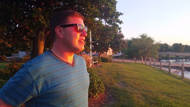 A colorblind guy saw his first sunset and reacted like you would if the sky was suddenly on fire.