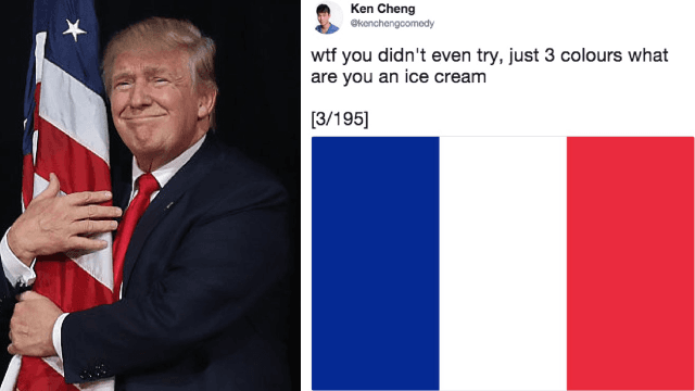 Guy sticks it to Trump's NFL criticism by roasting every flag in the world.