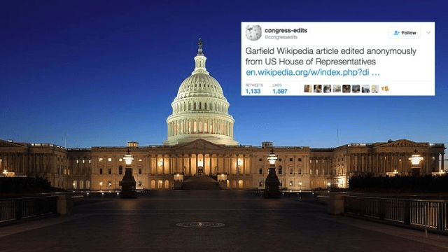 Someone in Congress is editing Garfield's Wikipedia page as debate over cat's gender rages on.