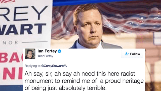 Twitter drags politician who threw a fit over confederate monuments being torn down.