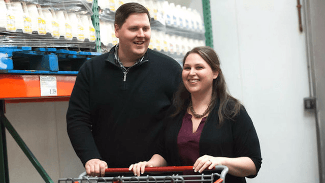 This couple took their engagement photos at Costco, because love is better in bulk.