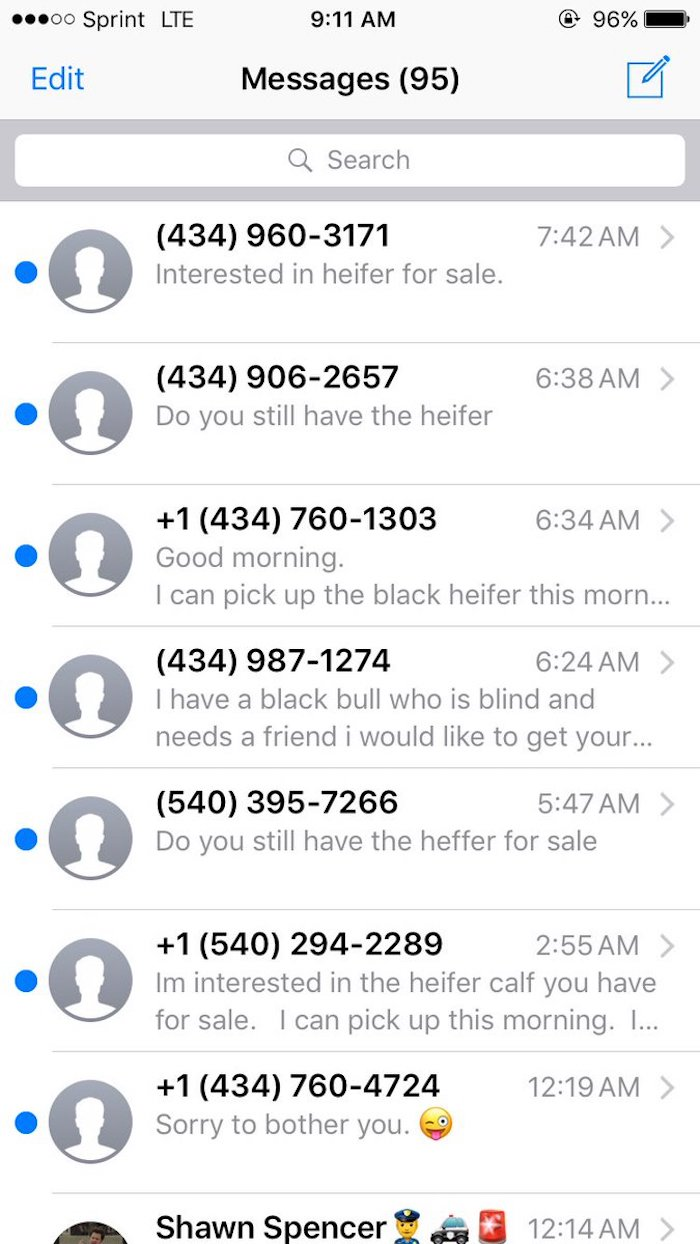 Prospective cow owners are blowing up this guy's phone after his number was posted in a Craigslist ad.