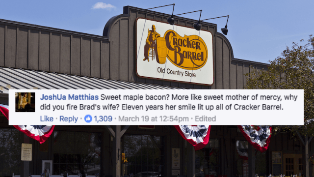 Cracker Barrel fired this guy's wife on his birthday and now the internet is demanding justice.