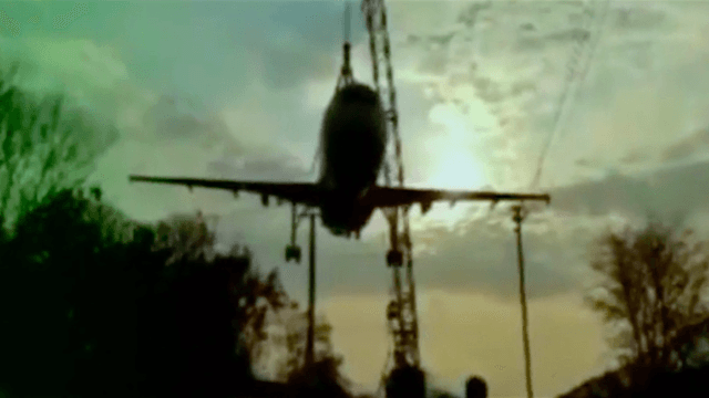 Crane operator having a very bad day demonstrates how to crash a plane without ever flying it.