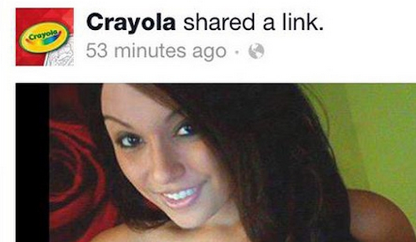Crayola's Facebook page was flooded with smut after being hacked. People had a very strange reaction.