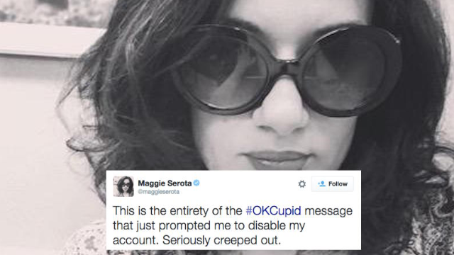 A woman got a creepy OKCupid message, and live-tweeted what it's like to be cyber stalked.