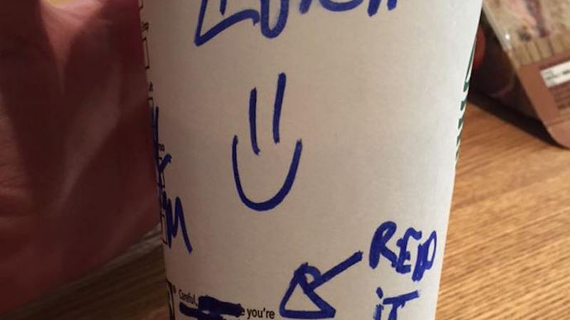 Was this flirty message written by a Starbucks barista on a customer's cup creepy or cute?