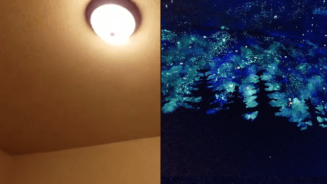 Woman's genius painting solves little kid's fear of the dark.