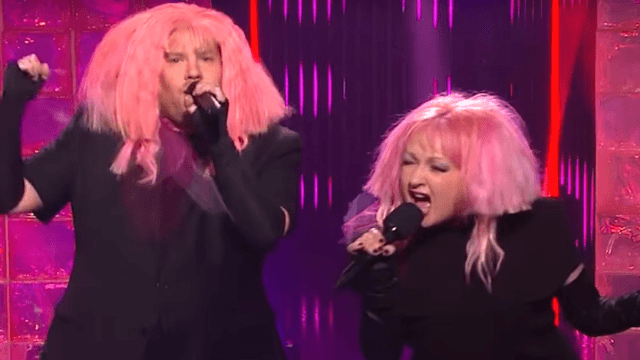 Cyndi Lauper and James Corden sing 'Girls Just Want Equal Funds,' an easy, awesome pun.