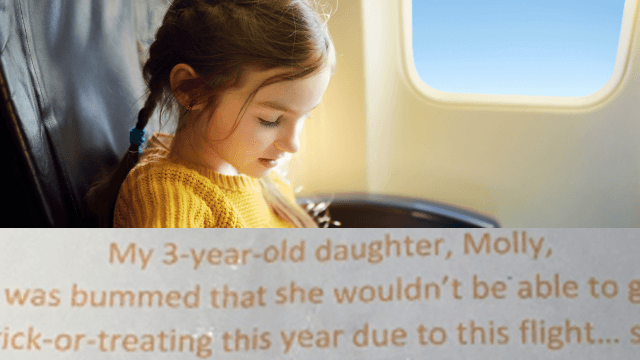 Dad's brilliant idea for airplane trick-or-treating saves Halloween for his daughter.