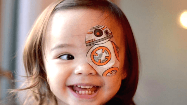 This dad turns his daughter's eyepatches into a different work of art every day.