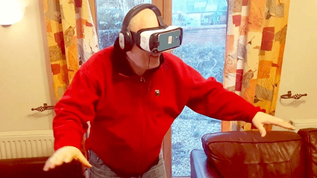 Adorably foul-mouthed British dad tries VR headset, loses his f**king mind.