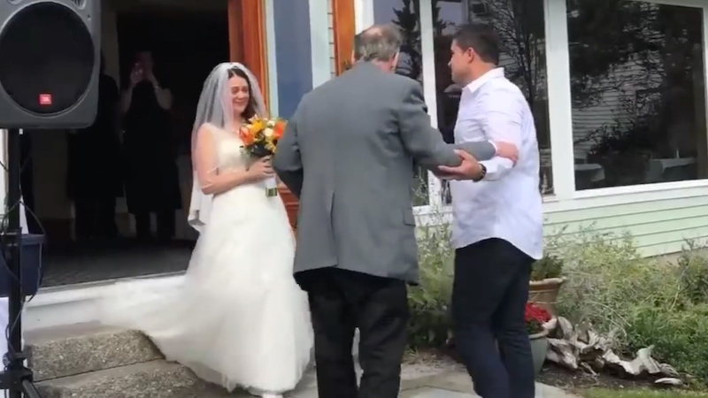 Cancer survivor dad gives daughter a wedding day surprise she didn't think was possible.
