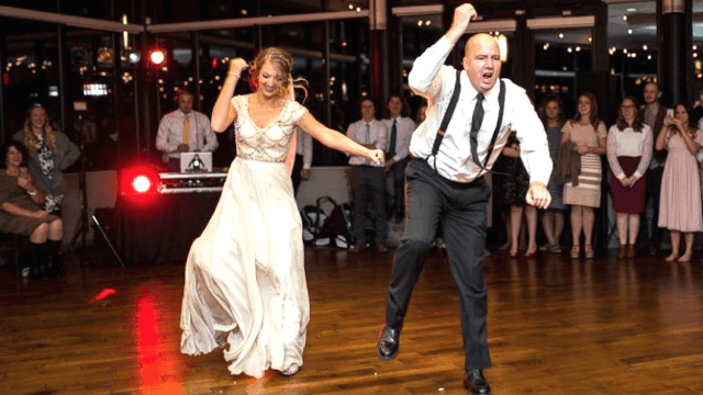 dad and daughter tear up wedding reception with the evolution of