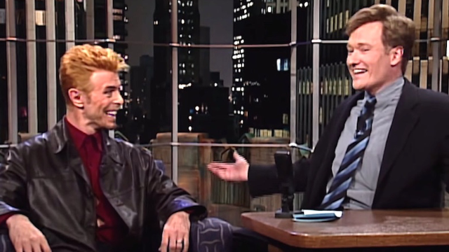 Conan pays tribute to David Bowie with hilarious clips of his appearances on the show.