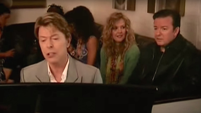 In honor of David Bowie, here he is mercilessly mocking Ricky Gervais. In song, of course.