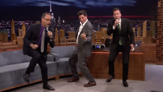 David Wain and Michael Showalter forced Jimmy Fallon to lip sync battle them.